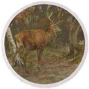 Stag On The Watch Round Beach Towel