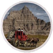 Stage Coach In The Badlands Round Beach Towel by Randall Nyhof