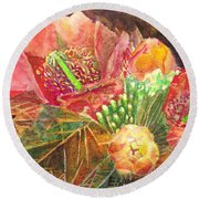 Staghorn In Bloom Round Beach Towel by Eric Samuelson