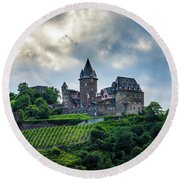 Round Beach Towel featuring the photograph Stahleck Castle by David Morefield