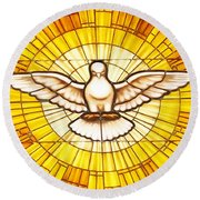Stain Glass Dove Round Beach Towel