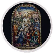 Stained Glass - Palm Sunday Round Beach Towel by Munir Alawi