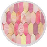 Stained Glass 1 Round Beach Towel by Elisabeth Fredriksson
