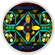 Stained Glass 1 Round Beach Towel