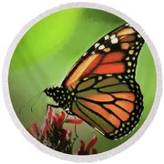 Round Beach Towel featuring the photograph Stained Glass Butterfly by Penny Lisowski