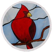 Stained Glass Cardinal Round Beach Towel