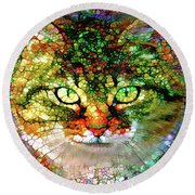 Stained Glass Cat Round Beach Towel