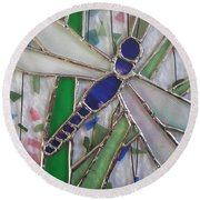 Stained Glass Dragonfly In Reeds By Karen J Jones Round Beach Towel