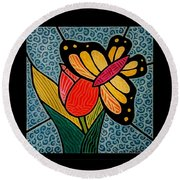 Round Beach Towel featuring the painting Stained Glass Duo by Jim Harris
