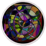 Round Beach Towel featuring the digital art Stained Glass Father Mother Child by Iowan Stone-Flowers