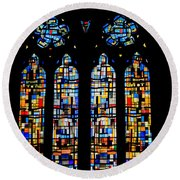 Round Beach Towel featuring the photograph Stained Glass France by Tom Prendergast