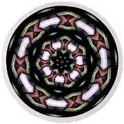 Stained Glass Kaleidoscope 12 Round Beach Towel by Rose Santuci-Sofranko