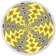 Stained Glass Kaleidoscope 18 Round Beach Towel by Rose Santuci-Sofranko