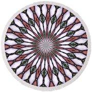 Stained Glass Kaleidoscope 2 Round Beach Towel by Rose Santuci-Sofranko