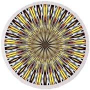 Stained Glass Kaleidoscope 22 Round Beach Towel by Rose Santuci-Sofranko