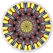 Stained Glass Kaleidoscope 23 Round Beach Towel by Rose Santuci-Sofranko