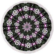 Stained Glass Kaleidoscope 3 Round Beach Towel by Rose Santuci-Sofranko