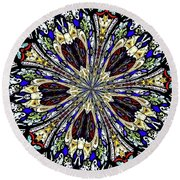 Stained Glass Kaleidoscope 38 Round Beach Towel