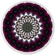 Stained Glass Kaleidoscope 4 Round Beach Towel by Rose Santuci-Sofranko