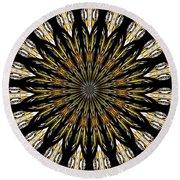 Stained Glass Kaleidoscope 5 Round Beach Towel by Rose Santuci-Sofranko
