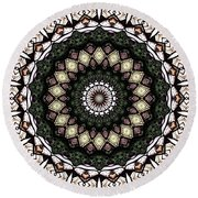 Stained Glass Kaleidoscope 6 Round Beach Towel by Rose Santuci-Sofranko