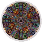 Stained Glass Mandala Round Beach Towel