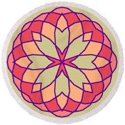 Round Beach Towel featuring the digital art Stained Glass by Methune Hively