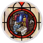 Stained Glass Nativity Window Round Beach Towel