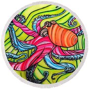 Round Beach Towel featuring the drawing Stained Glass Octopus by Justin Moore