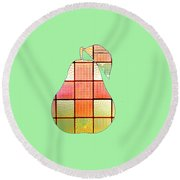 Stained Glass Pear Round Beach Towel