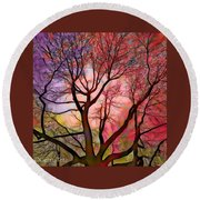 Stained Glass Sunrise 2 Round Beach Towel