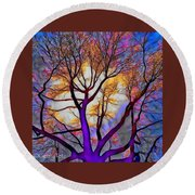 Stained Glass Sunrise Round Beach Towel