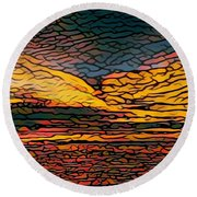 Stained Glass Sunset Round Beach Towel