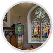 Round Beach Towel featuring the photograph Stained Glass Uk by Adrian Evans