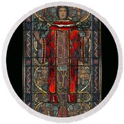 Stained Glass Window 1928 - Remastered Round Beach Towel