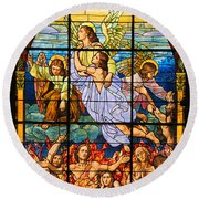 Stained Glass Window Round Beach Towel