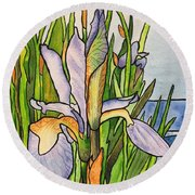 Stained Iris Round Beach Towel
