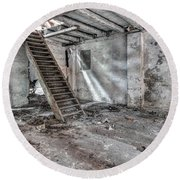 Round Beach Towel featuring the photograph Stair In Old Abandoned  Building by Michal Boubin