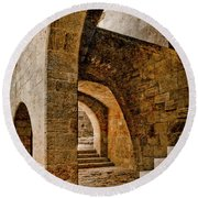 Round Beach Towel featuring the photograph Rhodes, Greece - Stair by Mark Forte