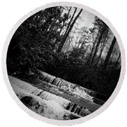 Stair Step Falls At Table Rock State Park Round Beach Towel