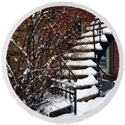 Staircase Covered By Snow Round Beach Towel
