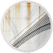 Staircase Shadows Round Beach Towel