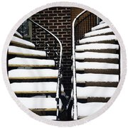 Staircases Covered By Snow Round Beach Towel