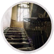 Stairs In Haunted House Round Beach Towel