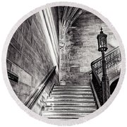 Stairs Of The Past Round Beach Towel by CJ Schmit
