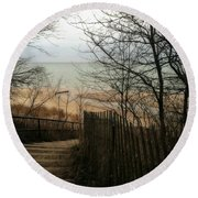 Round Beach Towel featuring the photograph Stairs To The Beach In Winter by Michelle Calkins