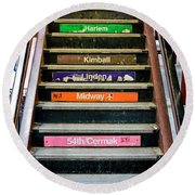 Stairs To The Chicago L Round Beach Towel