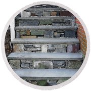 Stairs To The Plague House Round Beach Towel by RC DeWinter