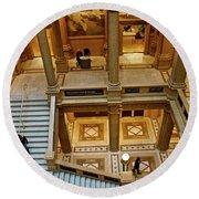 Stairway Architecture Carnegie Art Musem Round Beach Towel