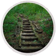 Stairway At Unicoi Gap On The At Round Beach Towel